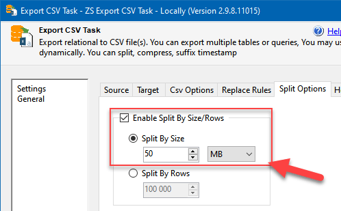 Using data split options in the Export CSV Task