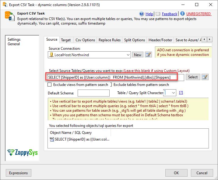 SSIS columnn name based on variable