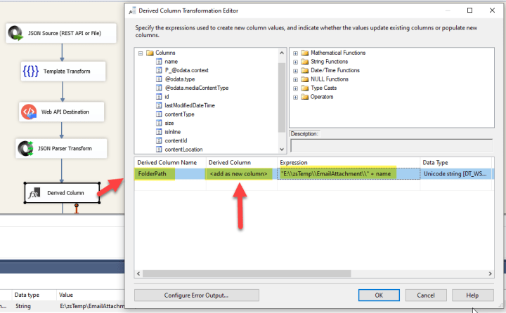 SSIS Derived Column : Add New Column
