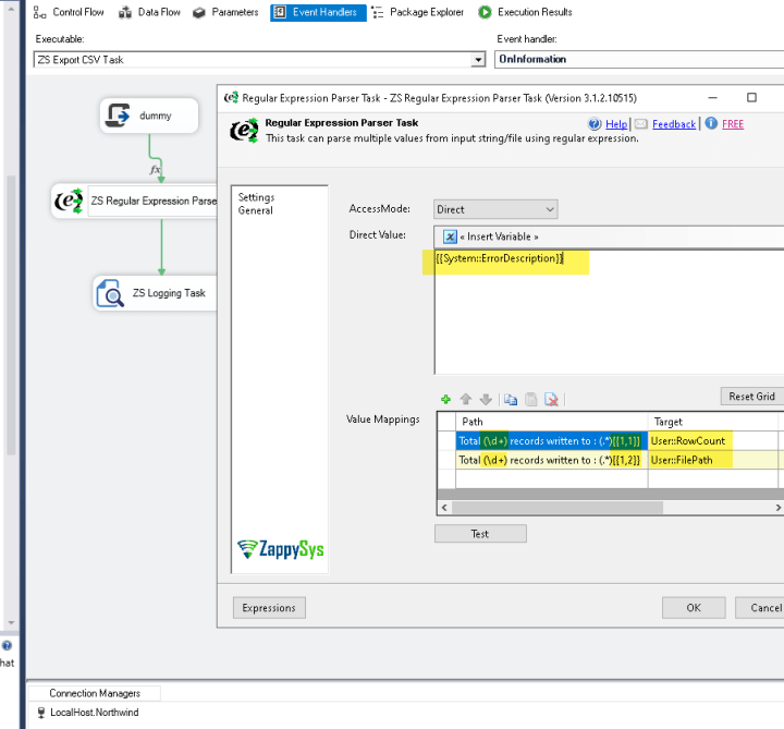 Extract data from audit log using SSIS Regular Expression Parser Task