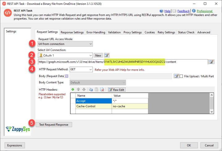 Binary File Configuration in ZappySys REST API Task