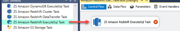 SSIS ZS Amazon Redshift ExecuteSQL Task - Drag and Drop