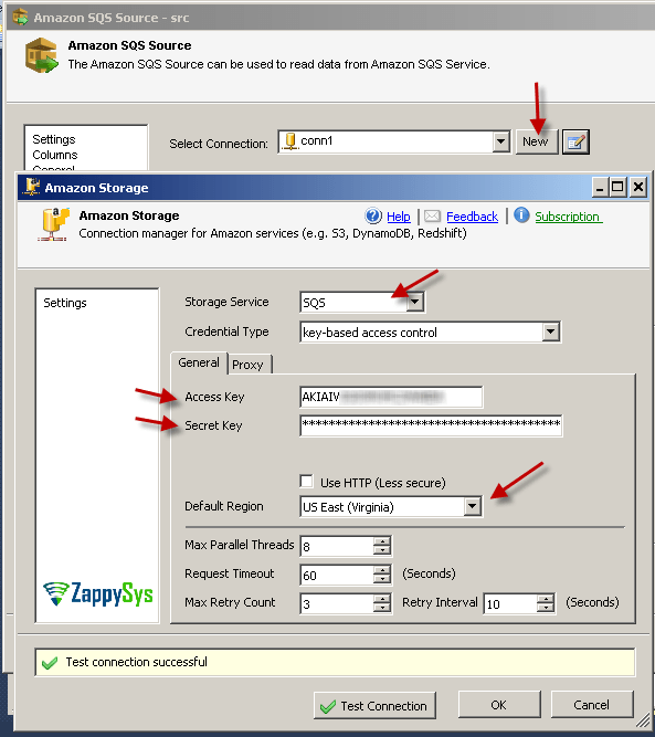How to Read / Write Amazon SQS Queue data in SSIS | ZappySys