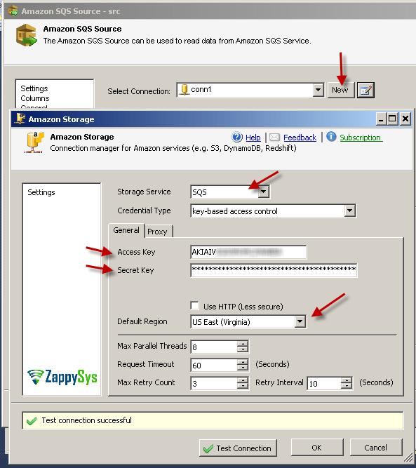 SSIS Amazon SQS Destination – Connection Manager.