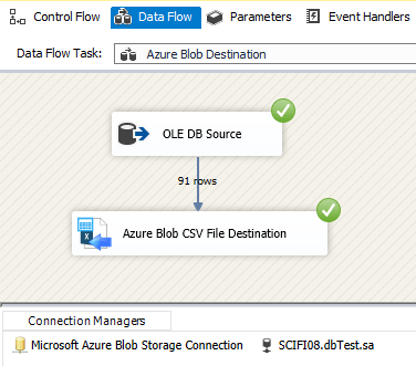 SSIS Azure Blob Destination for CSV File - Visual Studio