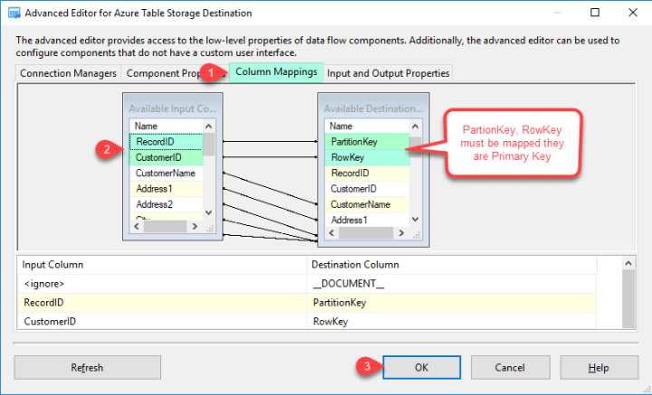 ZS Azure Table Storage Destination - Column Mappings