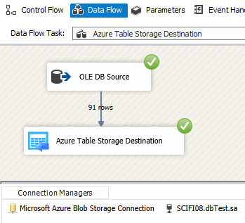 ZS Azure Table Storage Destination - Execute the Package