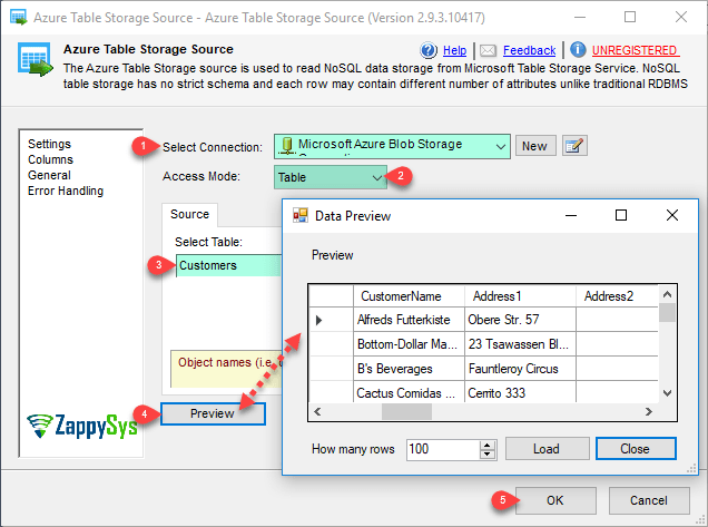 SSIS ZS Azure Table Source - Configure Table Mode