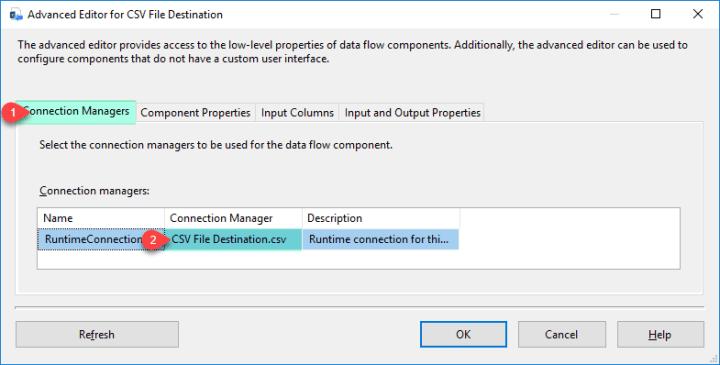 SSIS ZS CSV File Destination - Configure Connection Manager Tab