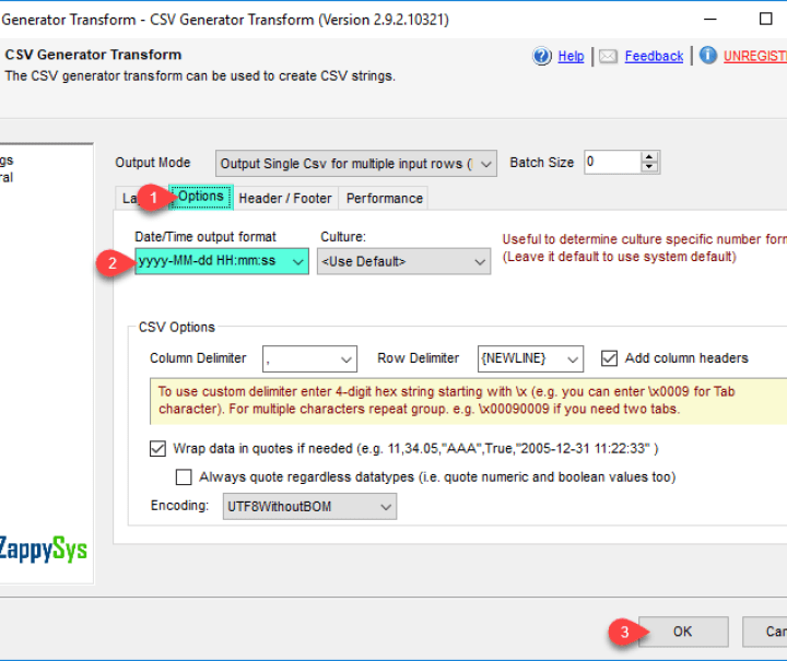 Options for SSIS CSV Generator Transform (e.g. Row delimiter, Column Delimiter)