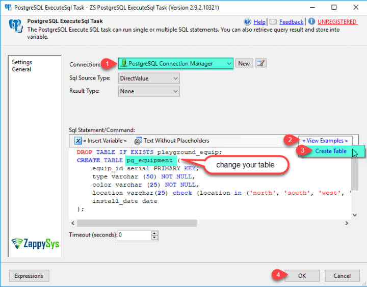 Execute SQL query against PostgreSQL in SSIS | ZappySys Blog