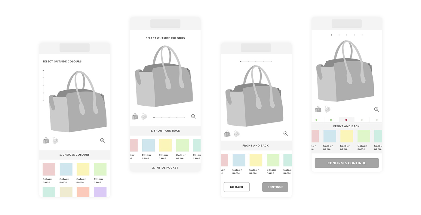 Bally Made to Order wireframes
