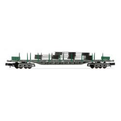 Vagón Plataforma tipo Rgs RENFE, Color verde, Carga planchas de acero, Escala N. Marca Arnold, Ref: HN6406.