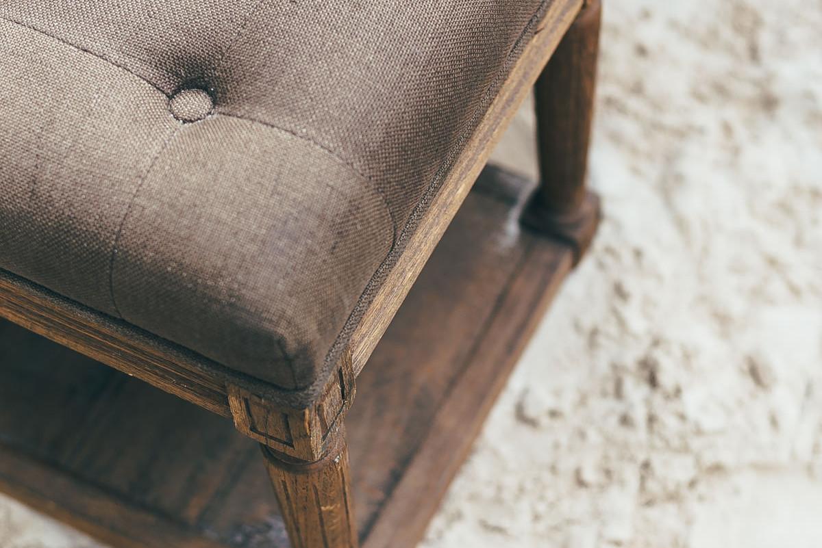 tufted bench wedding rental