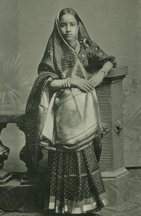 Young girl in Gujarati style sari, 1880.