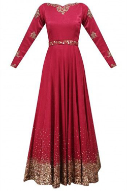 Rianta's Pomegranate Pink Floral Embroidered Anarkali Set