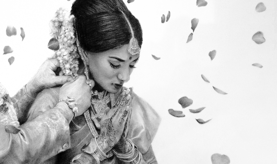 Indian Bride Drawings by Alicia Chen