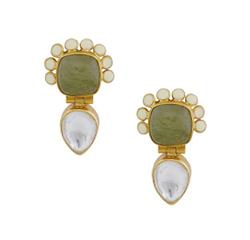 Anita Dongre Sage Green Drop Earrings