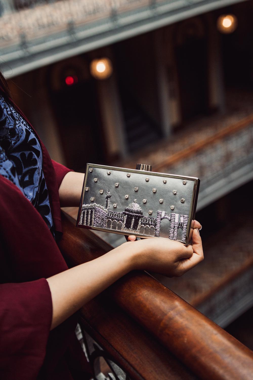 Embellished clutch by Minza Khan