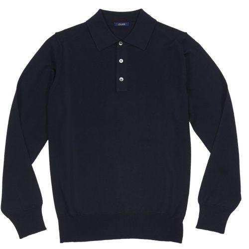 Sweter Polo Zaremba 100% Merino Granatowy