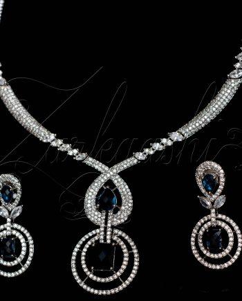 Sapphire Blue CZ Necklace Set