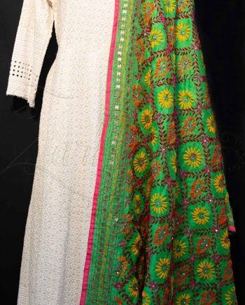 Best Chanderi Silk Phulkari Dupatta with Mirrors