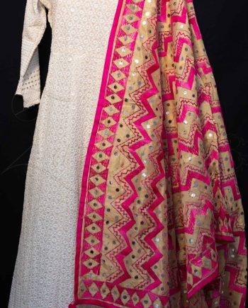 Best Chanderi Silk with Mirror and Phulkari Dupatta