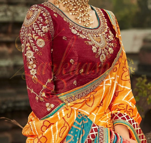 Bandhej Silk Saree