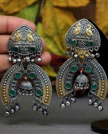 Oxidised Two Tone Earrings
