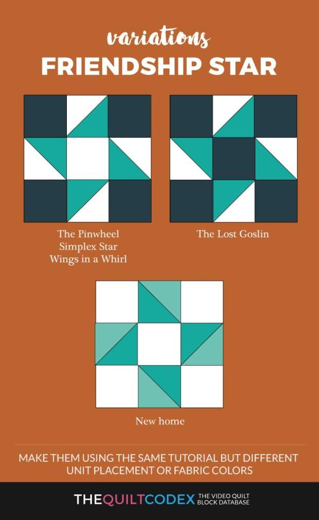Friendship-star-quilt-block-variations