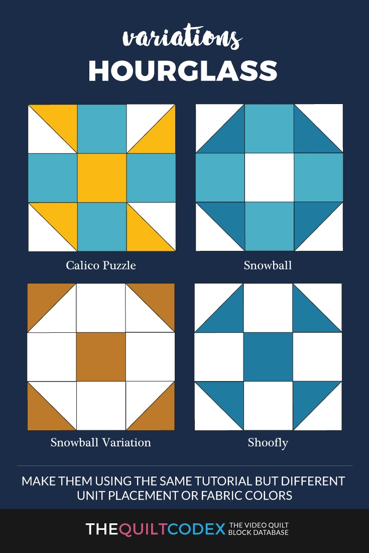Hourglass quilt block variations