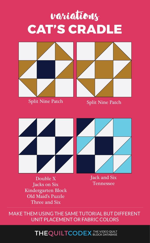 Cat's cradle quilt block variations