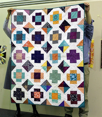 Scrappy greek cross quilt