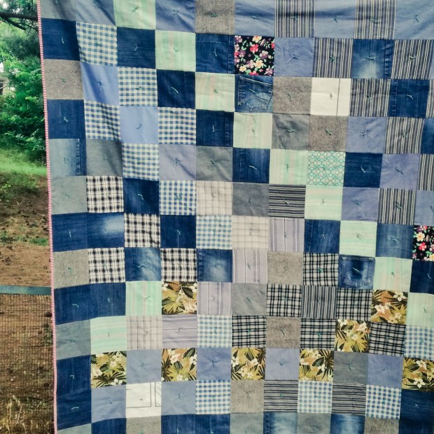 Denim quilt using clothing
