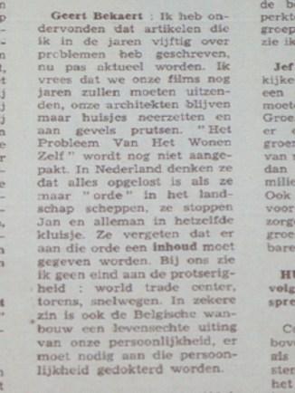 Geert Bekaert in Humo 1969 citaat 1/2