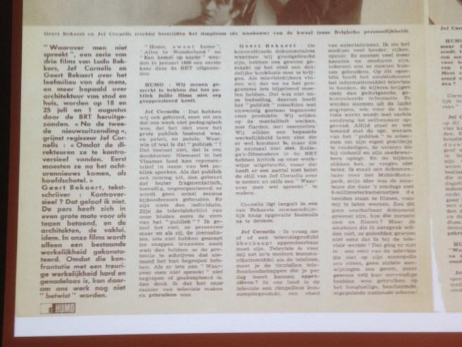 Jef Cornelis & Geert Bekaert in Humo 1969 eerste helft