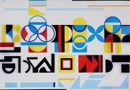 COMPOSIÇÃO GEOMÉTRICA, c. 1953, óleo sobre tela. 94,5 x 131,2 cm