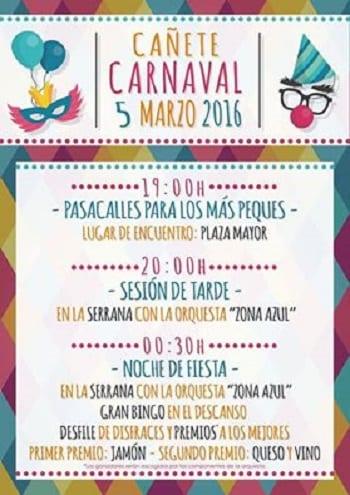 Programación del Carnaval de Cañete 2016