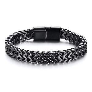 Чоловічий сталевий браслет чорний