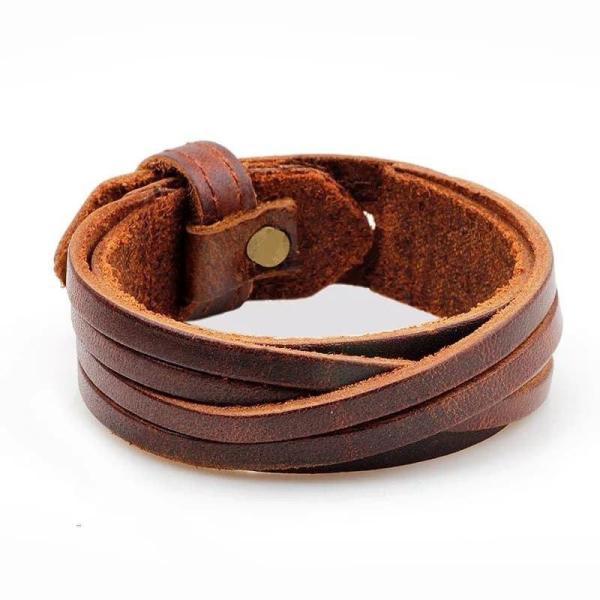 Кожаный браслет коричневый мужской на подарок