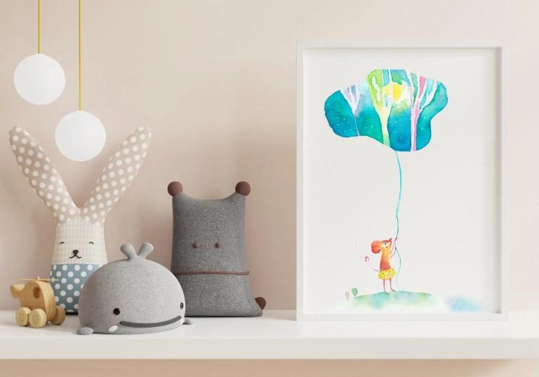 obrazek na sciane akwarela recznie malowane pokoj dziecka myszka