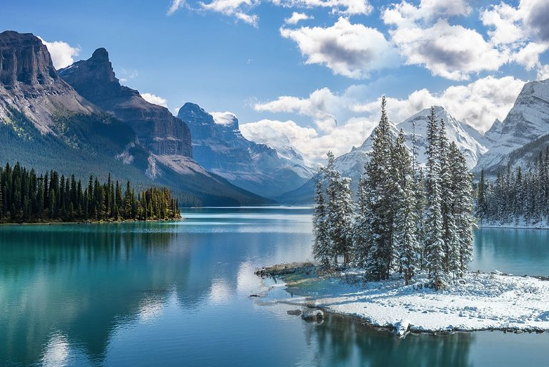 lac Maligne Alberta hiver été