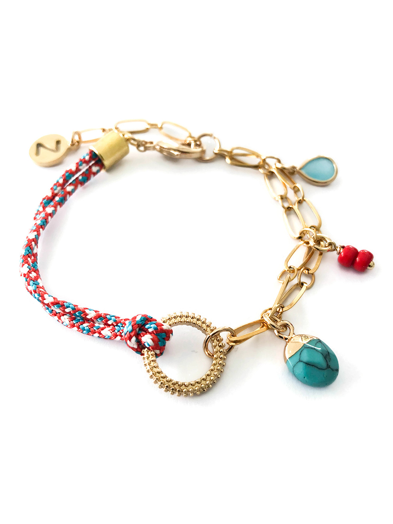 AFRA ARMBAND MET BEDELS - BLAUW ROOD - N20SS120 a - ZATTHU JEWELRY