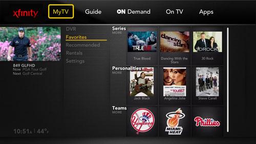 Comcast Xcalibur MyTV guide