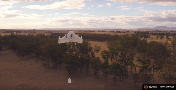 Google's Project Wing drone makes a delivery in this undated demonstration video. REUTERS/Courtesy of Google