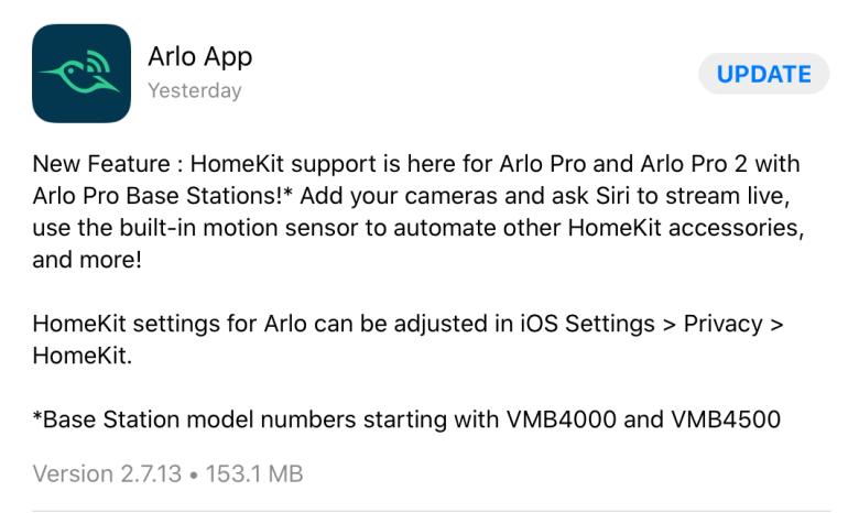 Arlo Pro Lines Now Do Apple HomeKit