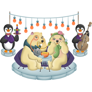 Cute Polar Bears and Penguins