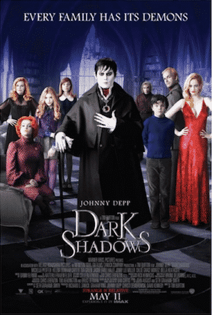 DARK SHADOWS (2012)  -  An imprisoned vampire, Barnabas Collins, is set free and returns to his ancestral home, where his dysfunctional descendants are in need of his protection.
