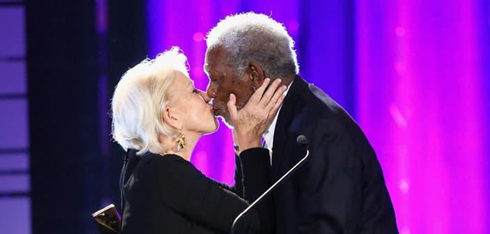 Helen Mirren Gives Morgan Freeman A Big Smooch In Celebration Of His Lifetime Achievement Award