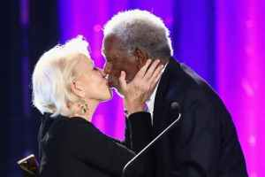 Helen Mirren Gives Morgan Freeman A Big Smooch In Celebration Of His Lifetime Achievement Award